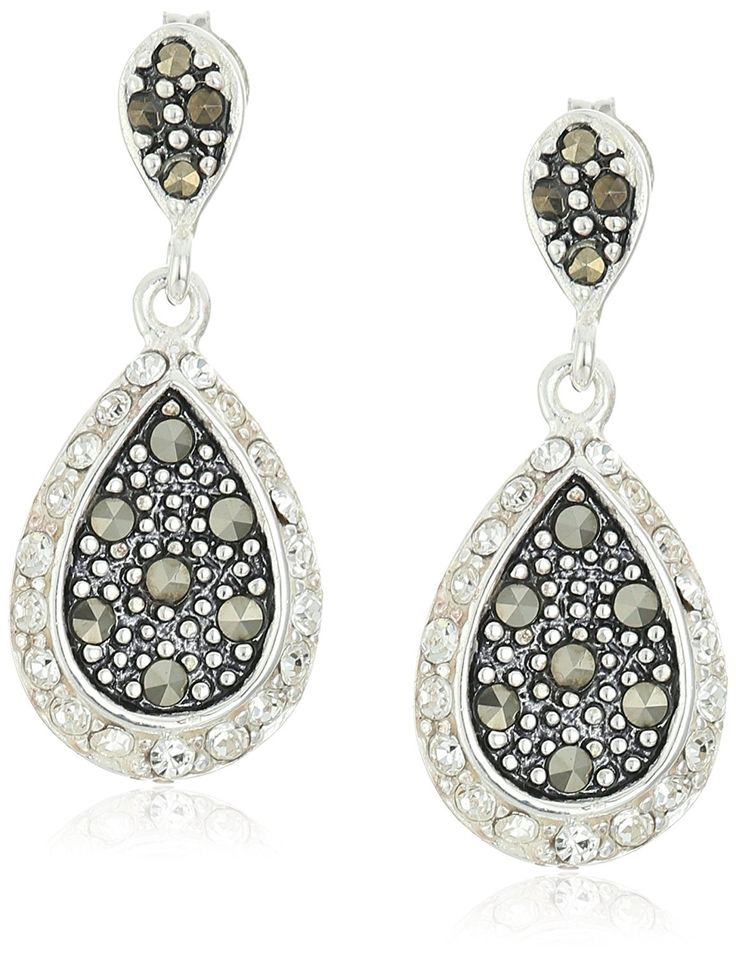 Sterling Silver Marcasite and Crystal Tear Drop Earrings ** Click image to review more details. (This is an Amazon Affiliate link)