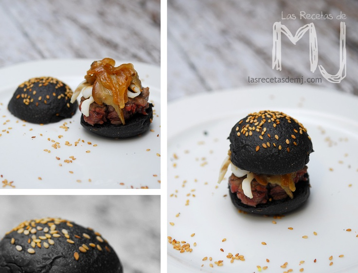 Mini hamburguesa de buey con chipirones y ceps en pan negro / Mini beef burger with squid and mushrooms in black bread