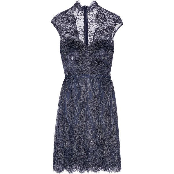 Mikael Aghal Metallic cotton-blend corded lace dress ($198) ❤ liked on Polyvore featuring dresses, midnight blue, lacy dress, cotton blend dresses, eyelash lace dress, structured dress and blue dress