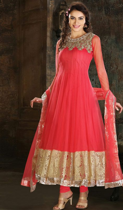 Ethnic Pink Embroidered Net Long Anarkali Suit Price: Usa Dollar $267, British UK Pound £157, Euro196, Canada CA$285 , Indian Rs14418.