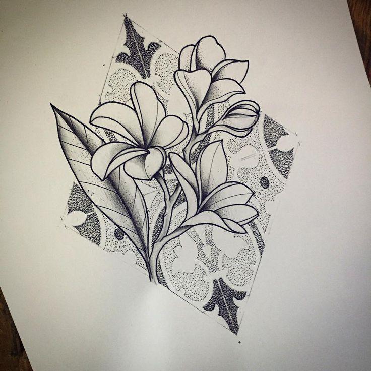 AVAILABLE   #misssita #misssitatattoo #tattoobarcelona #frangipani #flower #dotwork #botanicaltattoo #barcelona #tiles #illustration  (presso Oneonine Barcelona)
