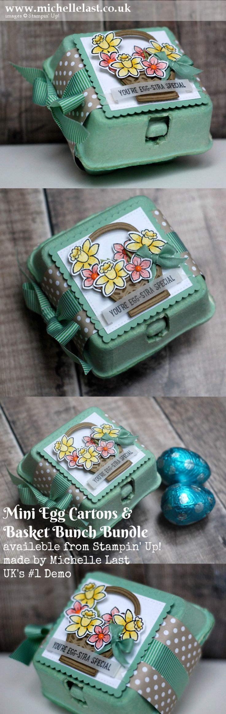 Easter Egg Carton & Basket Bunch from Stampin Up for the Creative Hearts Blog hop made by Michelle Last UK's #1 Demonstrator. Visit my blog for ideas and to order Stampin Up products