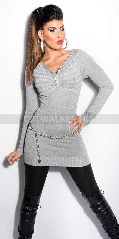 Női pulóver, mellénél összefogott, szürke