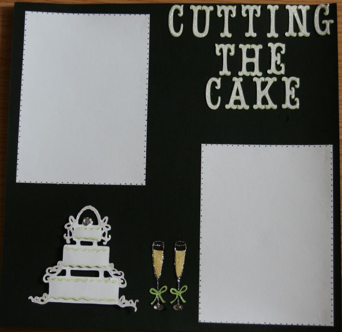 "Wedding Scrapbook Page ""Cutting the Cake"" - Scrapjazz.com"
