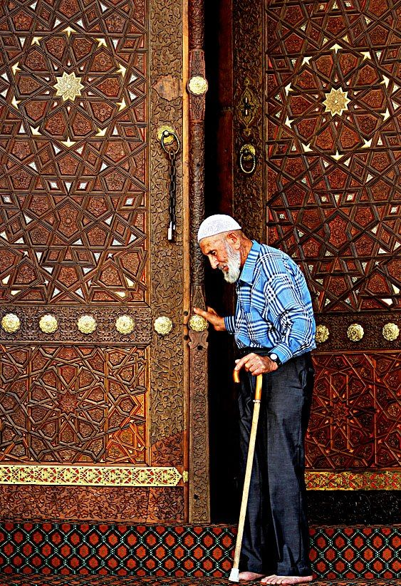 Decorated door in a mosque near Antalya, Turkey