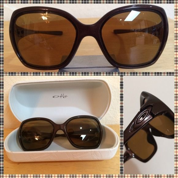 OAKLEY Prescription Sunglasses - Pretty Brown Brand new Oakley prescription sunglasses with hard white Oakley case. I got these fit myself, but never wore them.  now the prescription is not mine anymore & I figured someone may have a need for them. Rx is for far sight. I love to bundle & reasonable offers are always welcome! Please remember to always use the offer button.  Oakley Accessories Sunglasses