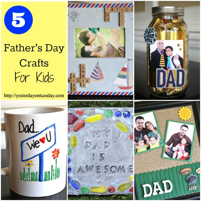 5 Father's Day Crafts for Kids including a 3-D coffee mug, stepping stone, picture frame and more!