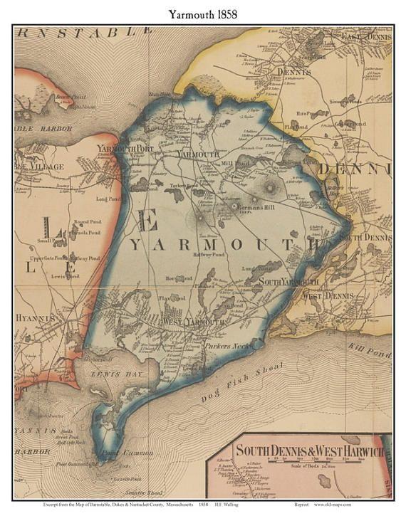 Yarmouth Massachusetts 1858 Old Town Map Custom Print