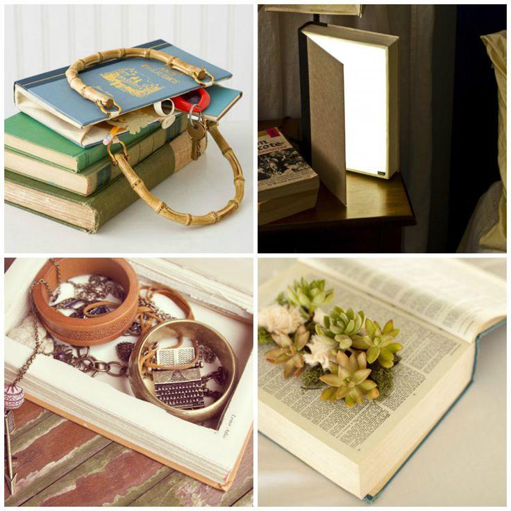 Upcycled old #books - #bag, #lamp, #box