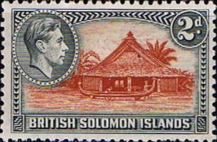 Solomon Island 1939 SG 63 Canoe House Fine Mint SG 63 Scott 70 Other British Commonwealth Stamps here
