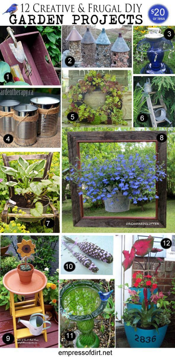 Creative garden art projects under $20. Take common household items and turn them into something wonderful for your balcony or backyard space. All frugal and easy to make!