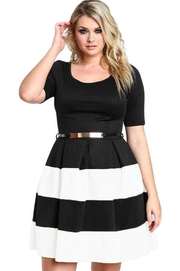 Short Sleeve A Line Burgundy Stripes Detail Belted Plus Size Skater Dress Vestido