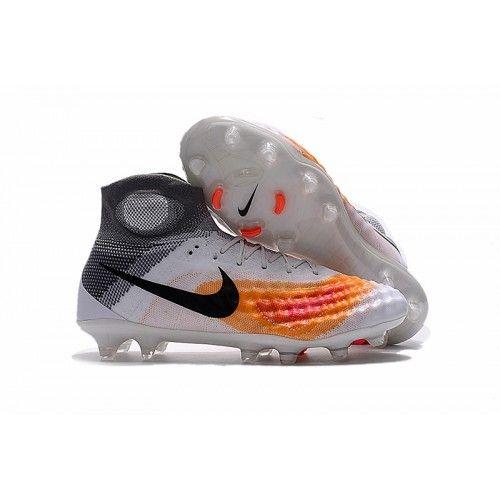Nike Magista - Nike Magista Obra II FG Hvid Grå Orange Fodboldstøvler med sok