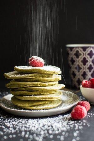 Delicious, fluffy, vegan matcha green tea pancakes that will brighten your morning!