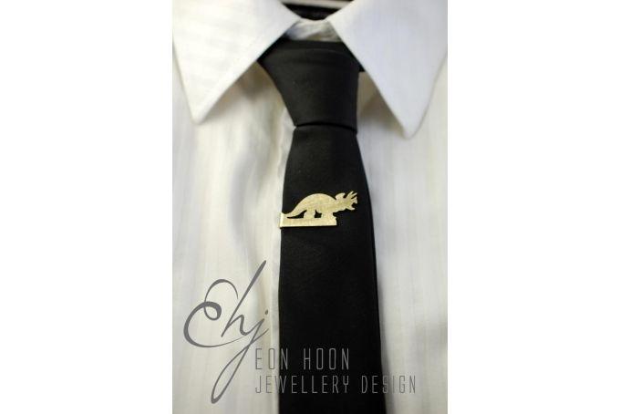 Triceratops Tie Clip by Eon Hoon Jewellery Design