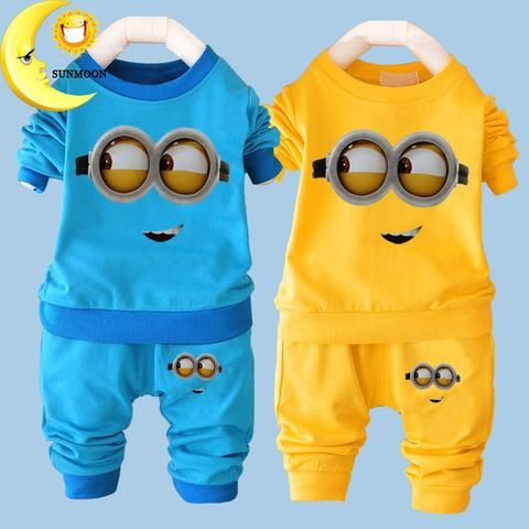 2016 New  Arrival Baby Boy/Girl  Clothes Sets  Minion Cartoon Casual Kids 2Piece Outfit T-Shirt+Pants