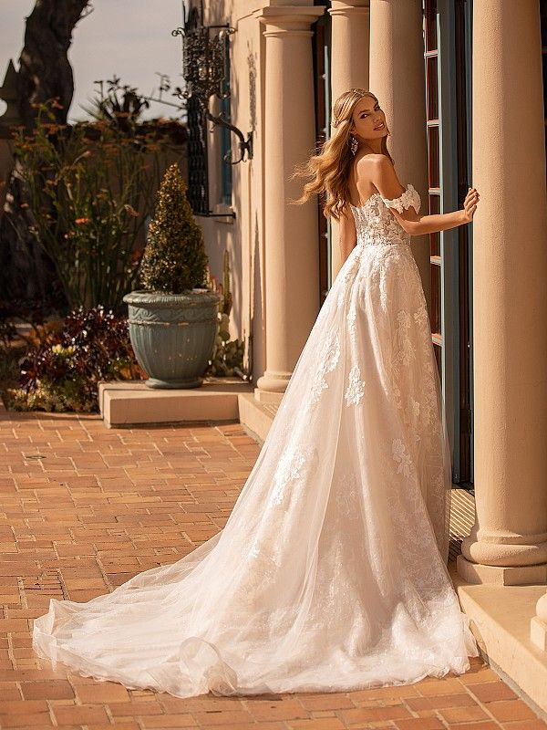 Moonlight Collection J6795 Lace And Blossom Net Wedding Dress With Train In 2020 Ball Gowns Wedding Wedding Dresses Wedding Dress Backs