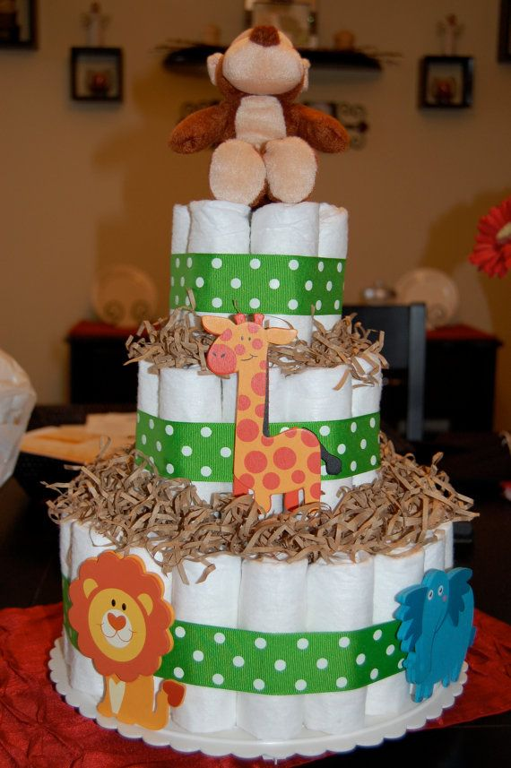 jungle diaper cake... sooo extremely obsessed with baby jungle!!!!!