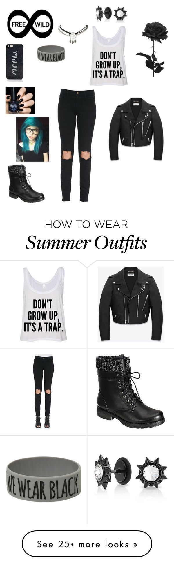 """""""We're the cool ones of society"""" by notyouraverageblonde13 on Polyvore featuring Yves Saint Laurent, Frame Denim, Wet Seal, Bling Jewelry and Kate Spade"""