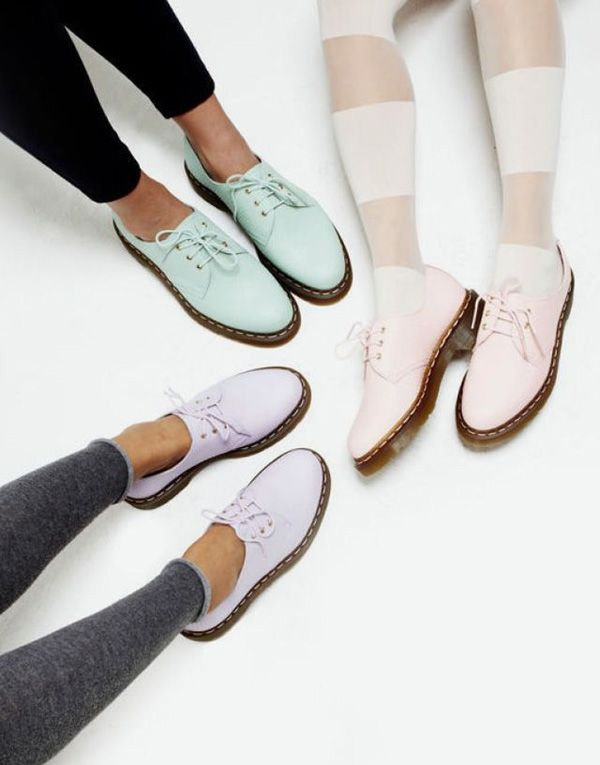 Pretty pastel Doc Martens with tights!