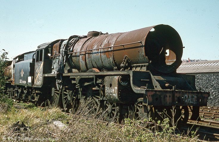 A significant inmate of Barry was LMS 'Jubilee' class 4-6-0 no. 45699 'Galatea', one of only four survivors of a class of 191. At one time thought to be beyond restoration, having had its centre driving wheels cut, the loco is now being restored at Carnforth.