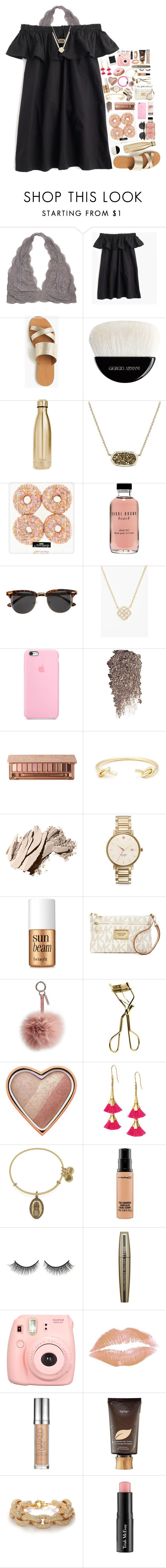 """""""take me to paris"""" by kate-elizabethh ❤ liked on Polyvore featuring J.Crew, Giorgio Armani, S'well, Kendra Scott, Bobbi Brown Cosmetics, H&M, Urban Decay, Sole Society, Kate Spade and Benefit"""