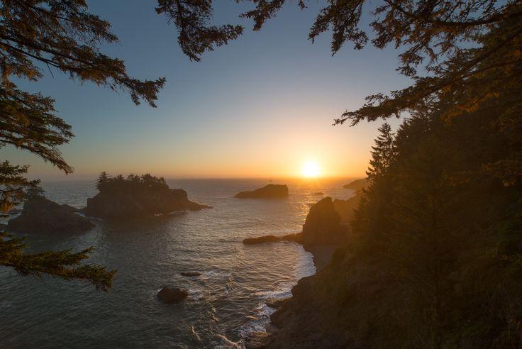 Sunset at Samuel H. Boardman State Park in Brookings, Oregon.