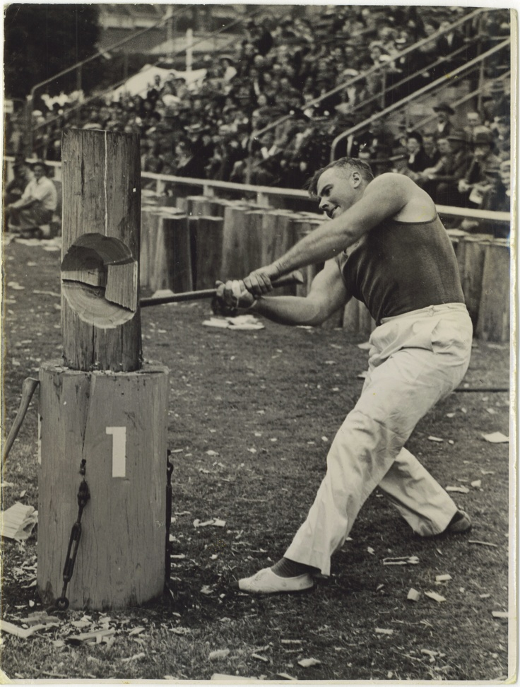 Sydney Royal Easter Show through the years - woodchopping.