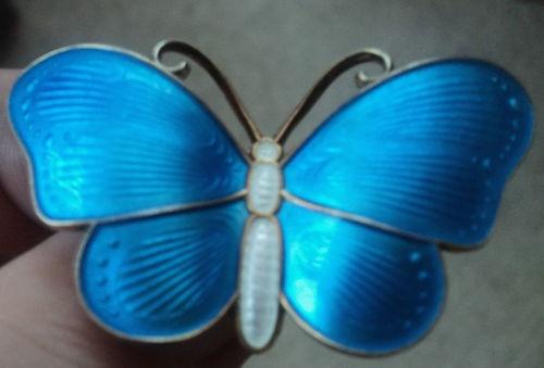 Large Silver Enamel Butterfly Brooch - Ivar Holt Norway