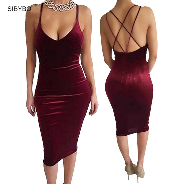 Find More Dresses Information about Sexy Club Dress 2016 Vestidos New Fashion Sleeveless Slim Backless Velvet Cross Strapless  Bandage Bodycon Party Dresses,High Quality dress long sleeve tunic dress,China dress shipping Suppliers, Cheap dress lily from SIBYBO Official Store on Aliexpress.com