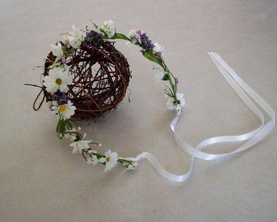 Daisy lavender hair wreath fairy circlet Bridal by AmoreBride
