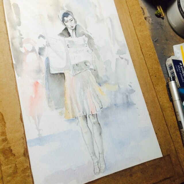 A lady walking down the street... ( in process) by Maria Monserrat Tapia Lozano