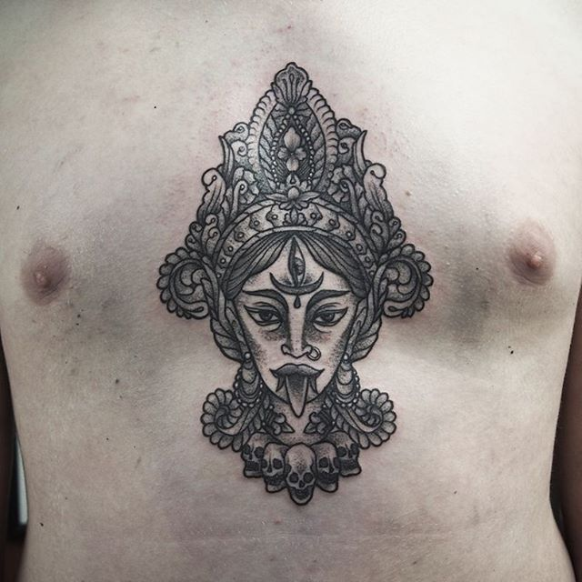 Maha Kali. Thank you Jelle for travelling from Belgium to get your first tattoo. Like a boss ! @fovtattoo, Lille.  Nealpanda.tattoo@gmail.com  #tattoo #tatouage #kali #godess #ink #dot #dotwork #ornementaltattoo #mandala #chesttattoo #Lille #darkartists #blackwork #blackworkerssubmission #lovettt