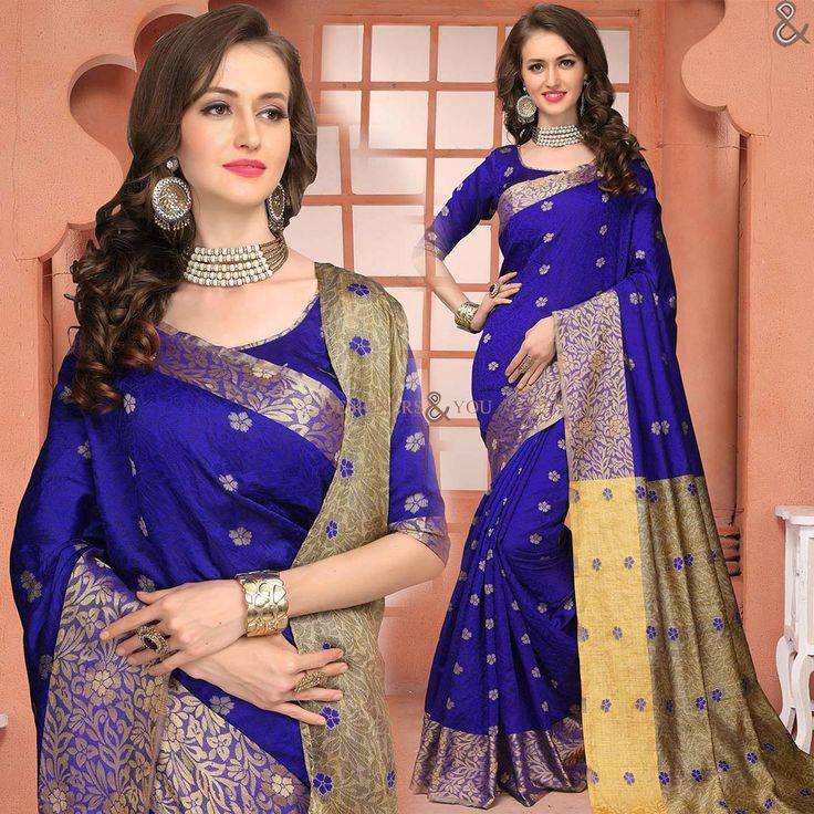 Irresistible Blue Raw Silk Office Wear Saree Online Having Half Sleeves