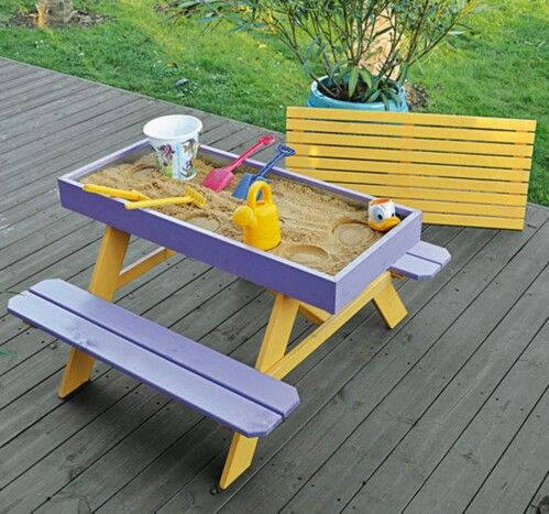 Sandbox picnic table. What a great idea!