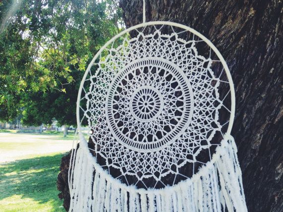 Doily Dream Catcher White Doily Dream Catcher by OjibweShop