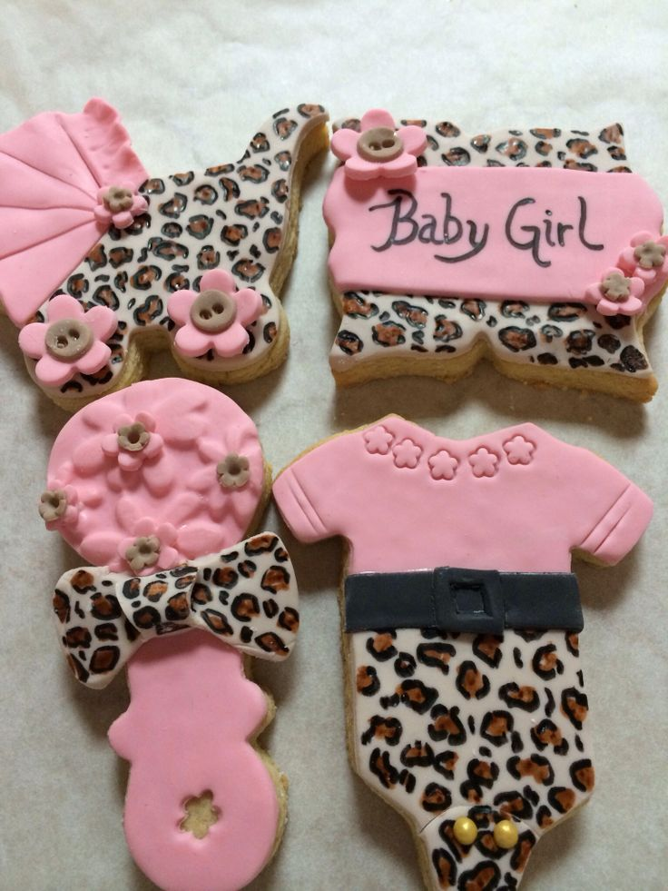 1000 ideas about baby girl cookies on pinterest baby for Animal print baby shower decoration ideas