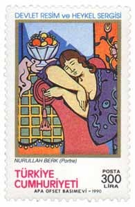 turkey stamps 1990 - Commemorative Setof State Exhibition of Painting and Sculpture