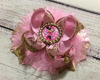 Minnie Mouse el arco del pelo, color de rosa y oro arco del pelo de Minnie Mouse, Minnie Mouse apilados diadema de pelo arcos, arco del pelo del Boutique del niña, bebé