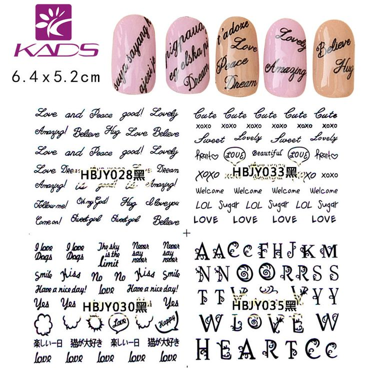 KADS HBJY025-036 Letter Design 3d nail stickers women adhesive nail minion nail stickers decorations cheap stickers for nails #>=#>=#>=#>=#> Click on the pin to check out discount price, color, size, shipping, etc. Save and like it!