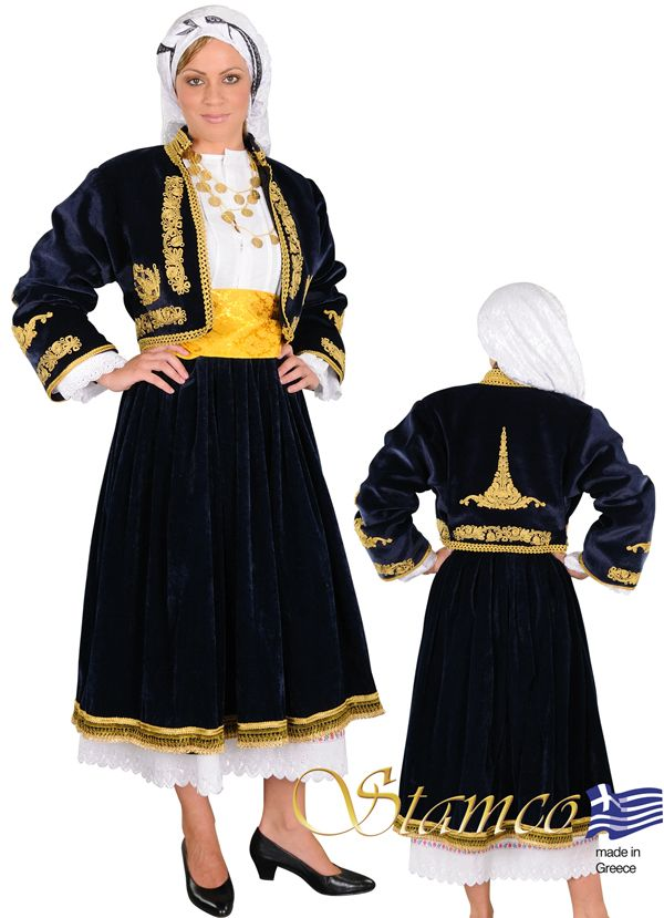 Woman from Cyclades on embroidered vest - 641111