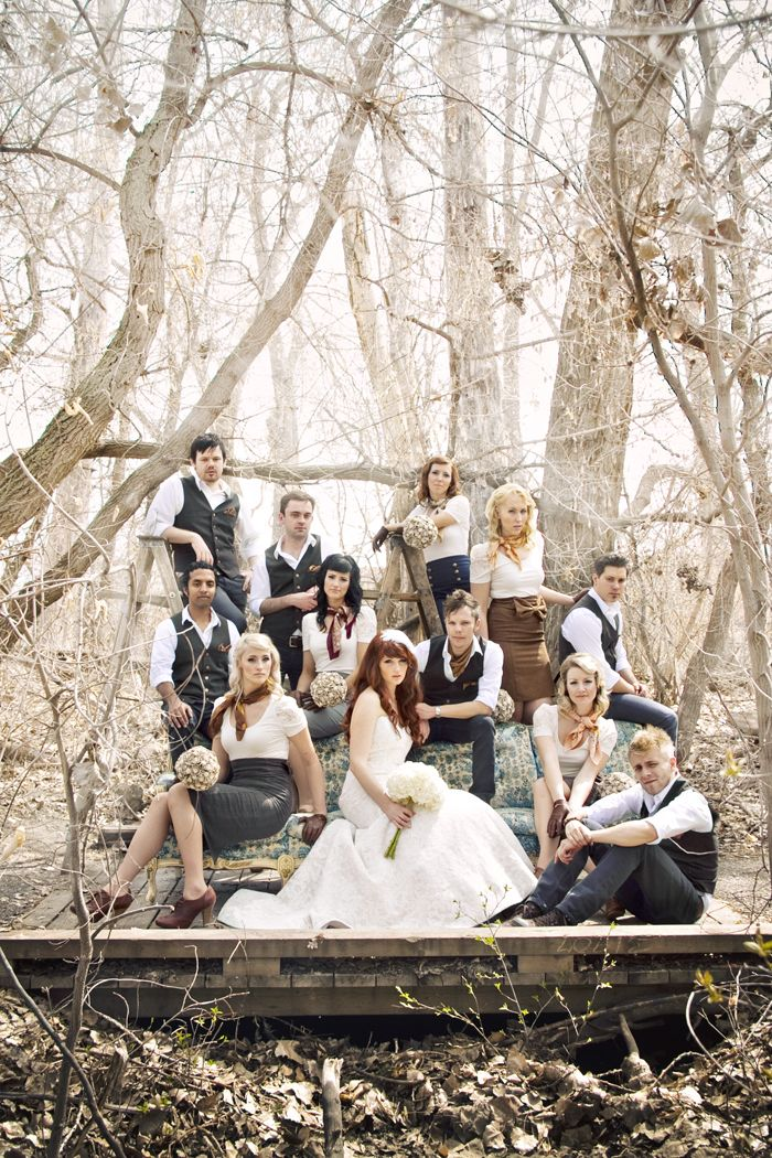 I love the seating for this wedding party photo.  And the styling and clothes ain't bad either.  ;)