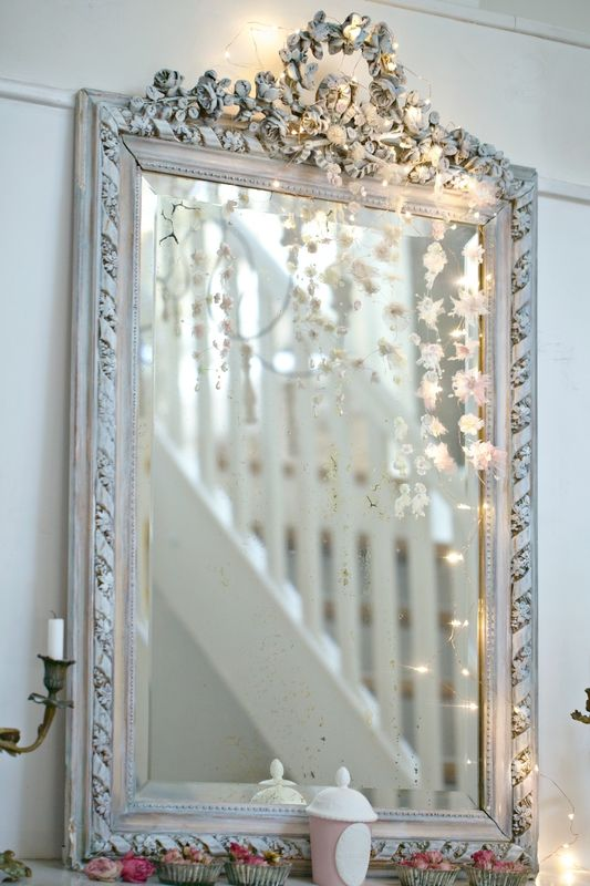 Fairy lights and mirrors.