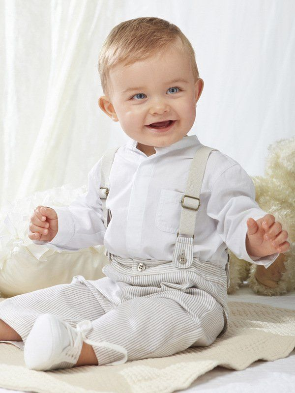 newborn boy linen christening clothing | ... baby boy clothing set ( white shirt+Striped overalls) infant suit set
