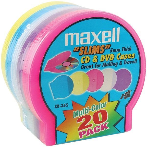 Slim CD/DVD Jewel Cases, 20 pk (Assorted Colors) - MAXELL - 190073