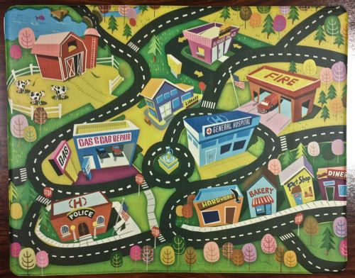 Natural Fiber Rugs X Kids Children Foam Play Mat Fun Town City Educational Rug Cars Roads Trucks