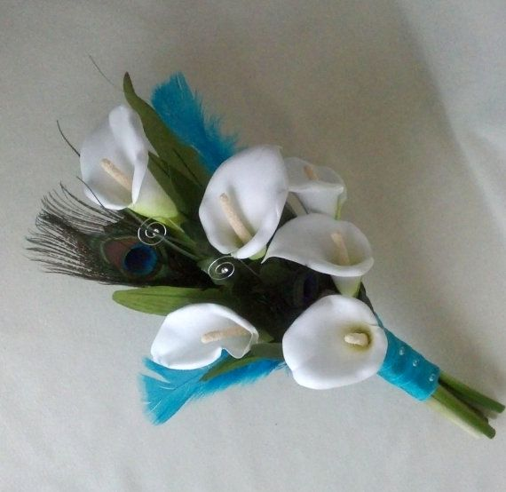 turquoise wedding flower package calla lilies peacock feather boutonnieres bridal bouquet 5 piece silk wedding flowers accessories party