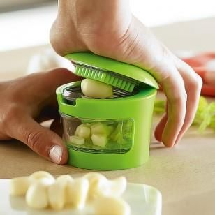 The Garlic Press Chopper is a simple kitchen gadget that can chop and mince garlic with only a fraction of effort than traditional garlic press. Each garlic press is equipped with two interchangeable blades that chop or mince garlic. -https://www.cooliyo.com/product/96440/garlic-chopper/