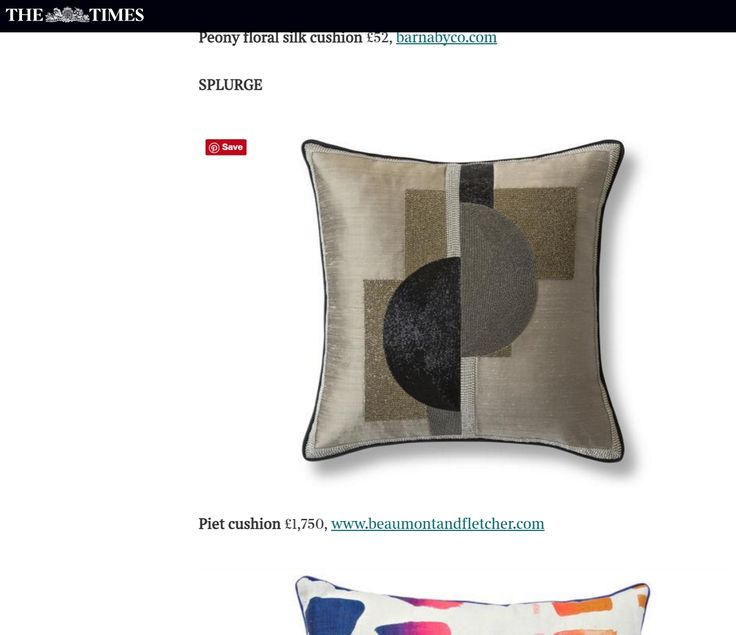 This Beaumont & Fletcher 'Piet' cushion was featured in The Times' 'Save, Spend, Splurge' column in August 2016.