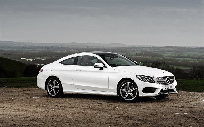 Mercedes-Benz C-Class, 2017, AMG, C205, White Mercedes, Coupe, German cars, Mercedes
